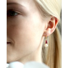 Ohrringe Letizia gelbgold pink Perle in Muschel