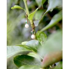 Ohrringe Letizia gelbgold smaragd grün Perle hängend