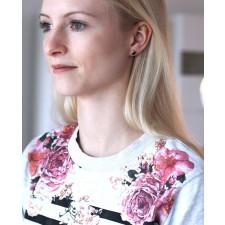 Rose Ohrstecker schwarz rund Anna groß