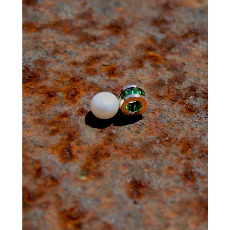 Perlen Anhänger Rosegold grün Alicia