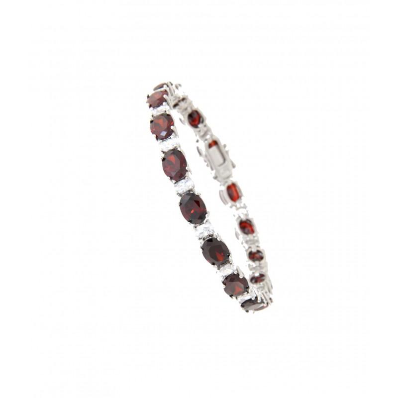 Armband Sissi silber granat rot weiß
