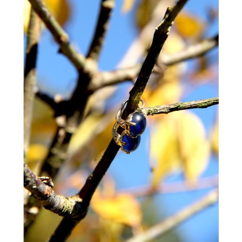 Goldene Ohrringe blau Amalia seitlich
