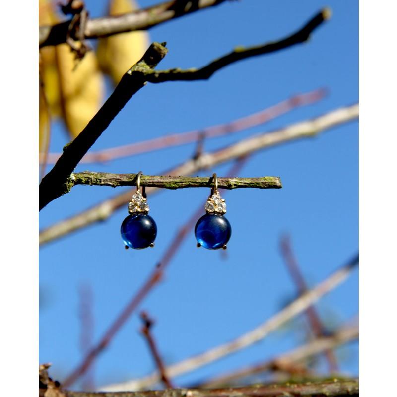 Goldene Ohrringe blau Amalia frontal