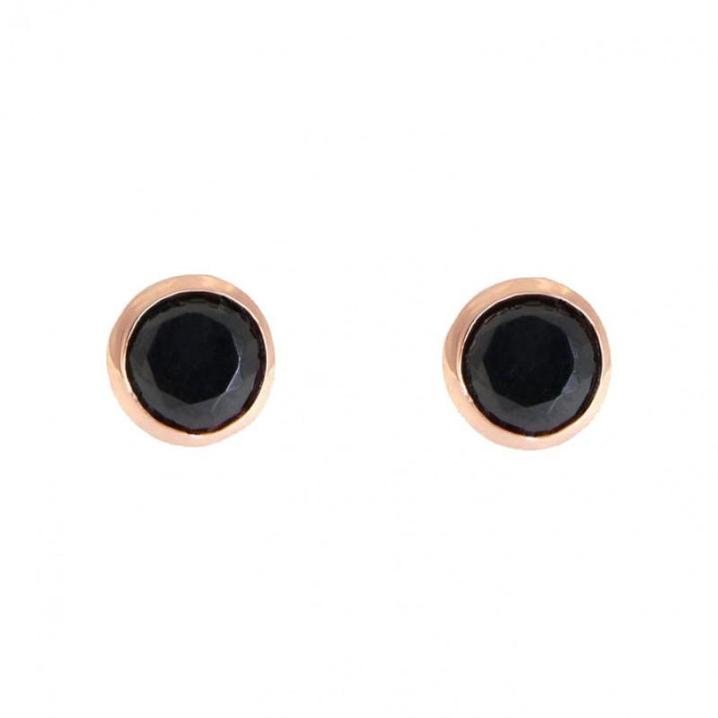 Ohrringe Anna groß rosegold schwarz frontal