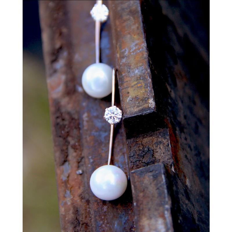 Ohrhänger Catalina rosegold mit Perle und weiß
