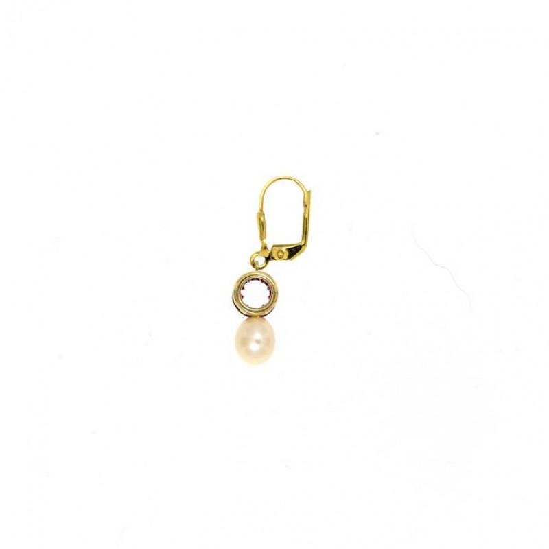 Ohrringe Letizia gelbgold pink Perle seitlich