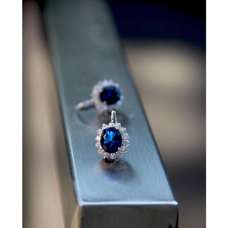 Ohrringe Sissi silber saphir blau einer frontal