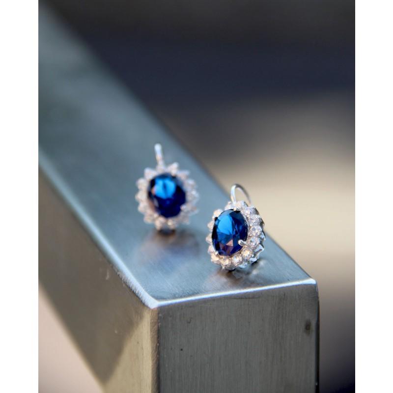Ohrringe Sissi silber saphir blau von vorne
