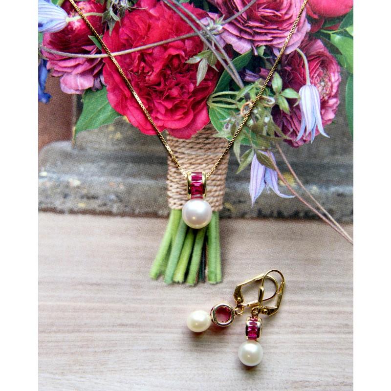 Schmuck Set Perlen Ohrringe Letizia und Perlen Anhänger Claire