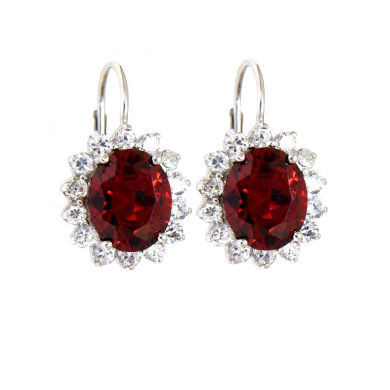 Sterling Silber Ohrringe rot Sissi von vorne