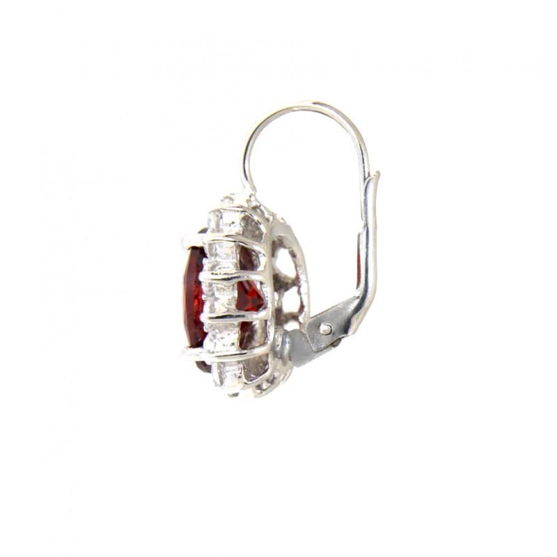 925 er Sterling Silber Ohrring rot Sissi von der Seite